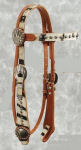 White Zebra Hair on Hide Browband Headstall