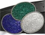Solid Bling Oval Belt