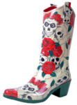 Rosy Skull Rubber Boots