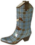 Blue Plaid Rubber Boots